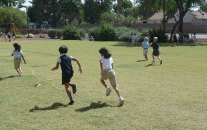 recess time in the field at charter traditional school