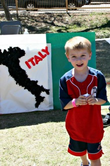 Young boy at Italy booth