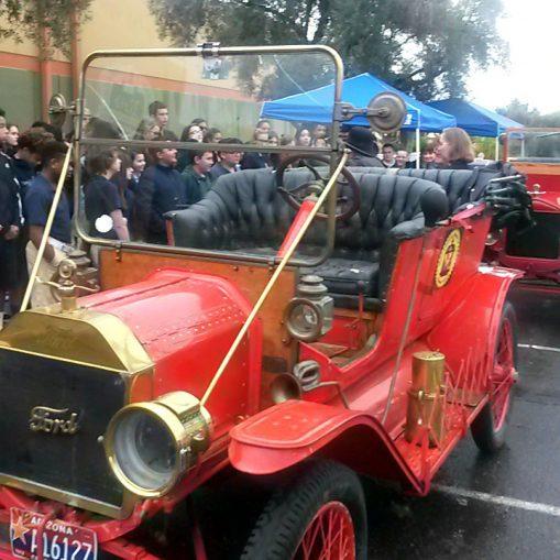 Vintage red Model T seen from front