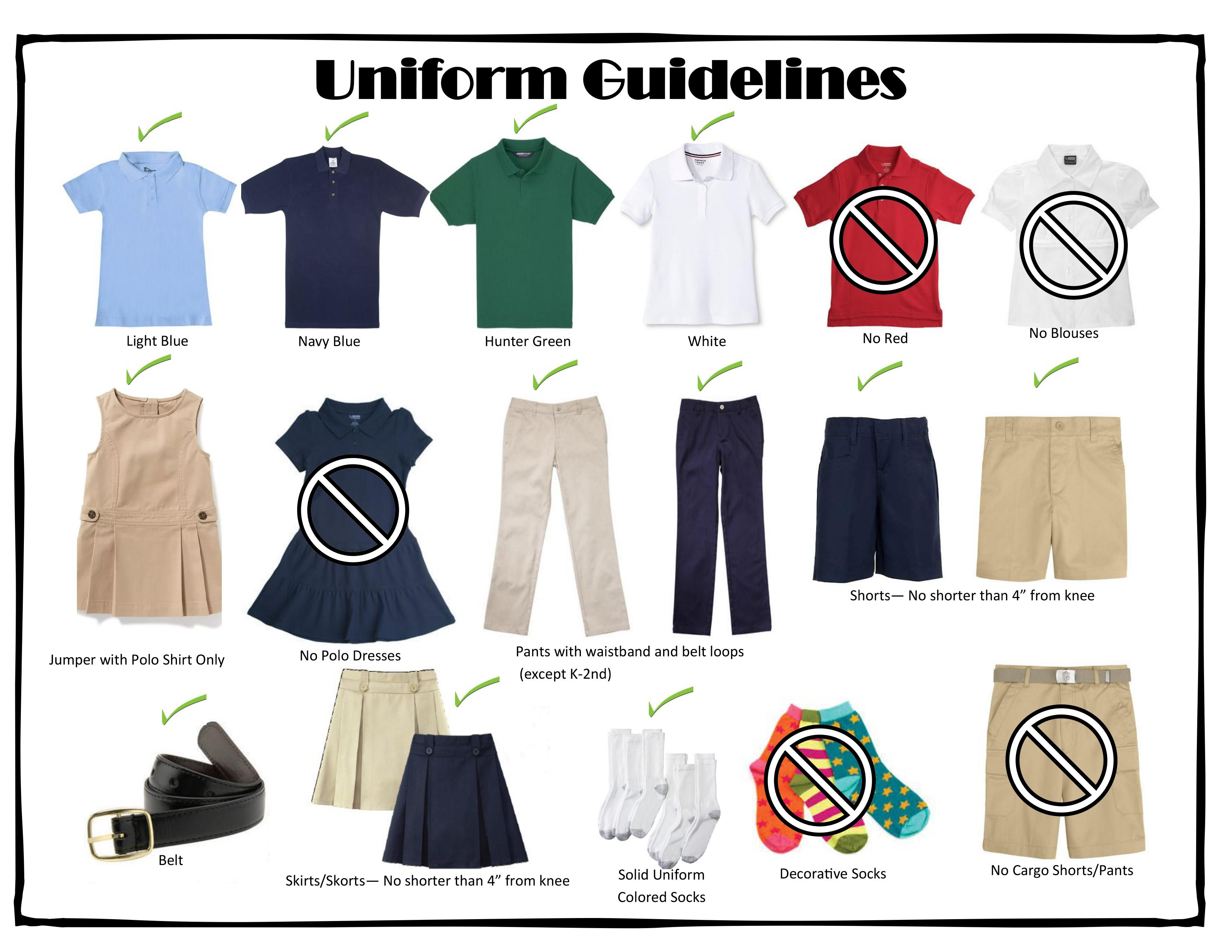 Complete uniform requirements are detailed below.