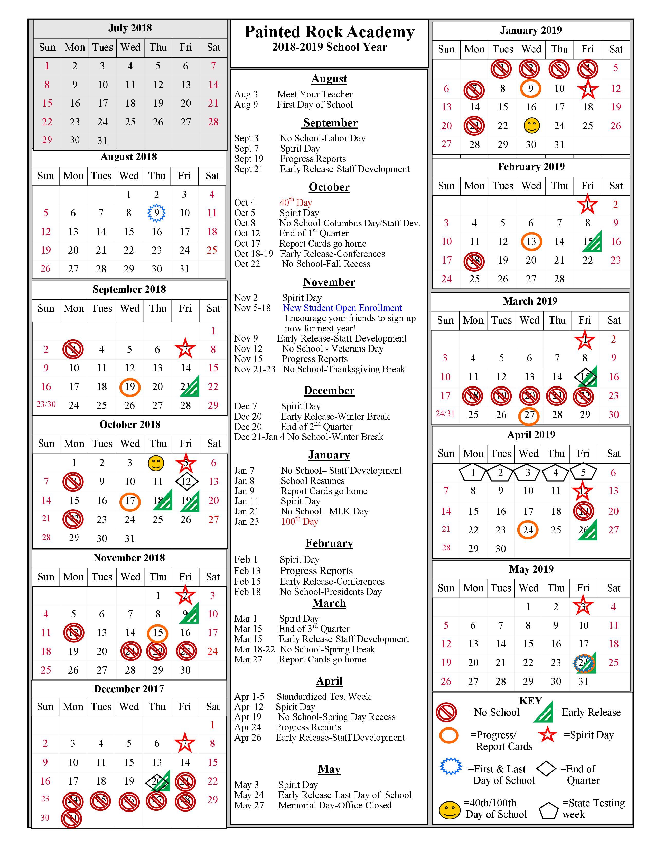 calendar of school year