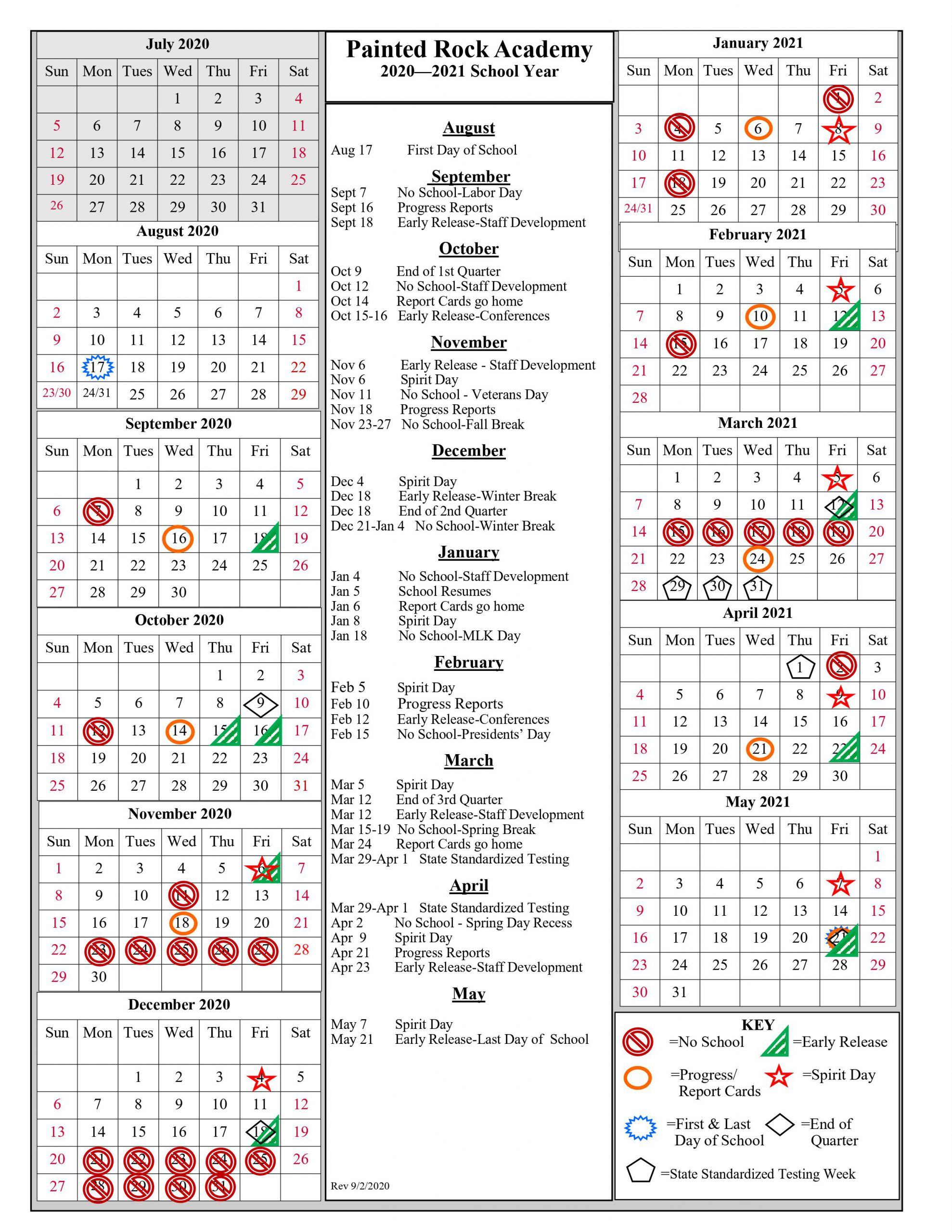 calendar of school year